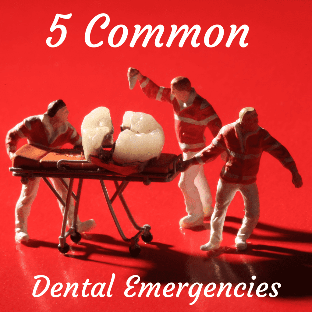 "tooth on a stretcher with the title ""5 common dental emergencies"""