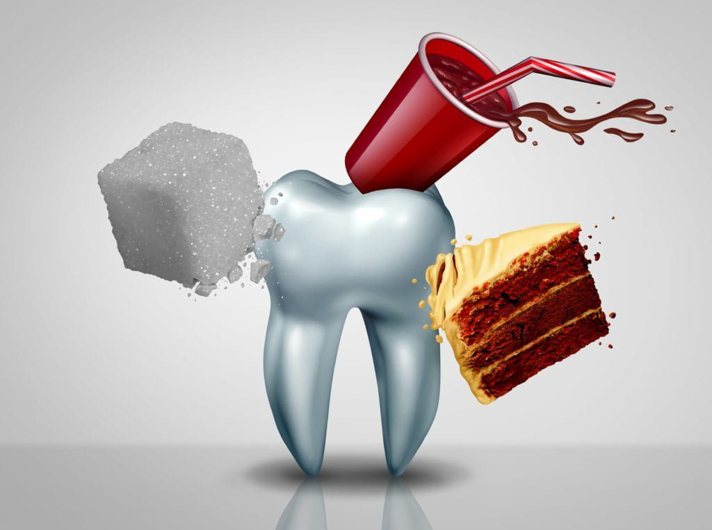 Giant tooth being attacked by sugar cube, cake, and dark cola