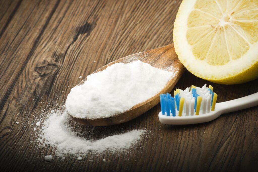 baking soda and lemon by toothbrush