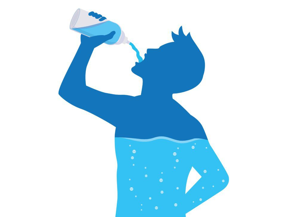 outline of a person drinking water